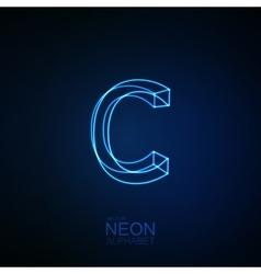 Neon 3d letter c vector