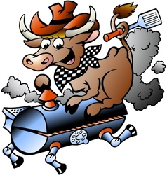 Hand-drawn of an cow riding a bbq barrel vector