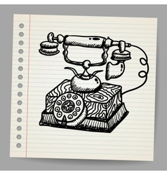 Doodle vintage phone vector