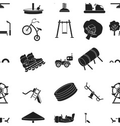 Play garden pattern icons in black style Big vector image
