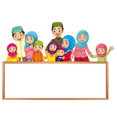 Board template with muslim family in colorful vector