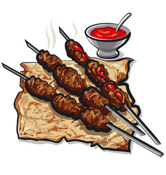 meat kebabs and pita vector image
