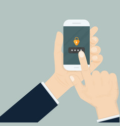 hand holding smartphone while entering the vector image