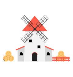 windmill with haystacks vector image