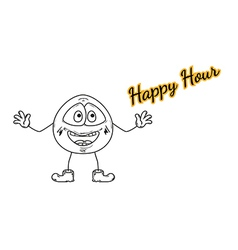 Happy hour with emoticon vector
