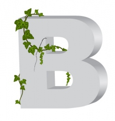 3d b letter with ivy vector image vector image