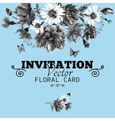 Watercolor monochrome floral greeting card with vector