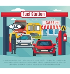 Gas station background vector