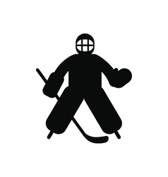 Hockey goalkeeper black simple icon vector