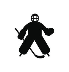 Hockey goalkeeper black simple icon vector image