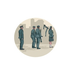 Soldier bagpiper marching circle watercolor vector