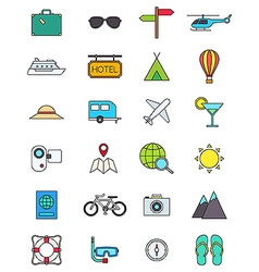 Color traveling icons set vector