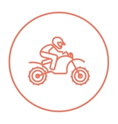 Man riding motocross bike line icon vector