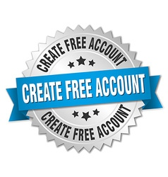 Create free account 3d silver badge with blue vector