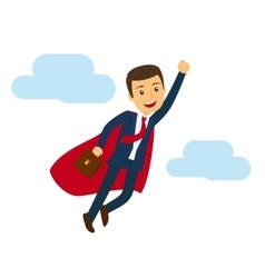 Office super business man flying icon vector