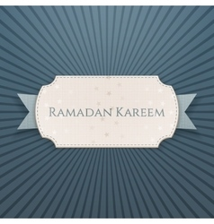 Ramadan kareem textile card with greeting ribbon vector