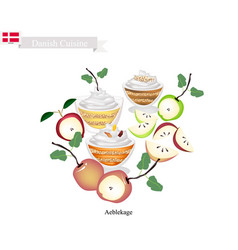 Aeblekage or apple cake popular dessert in denmar vector