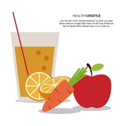 Apple and carrot icon Healthy food vector image