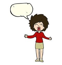 Cartoon loud woman with speech bubble vector