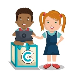 Children using computer design vector image