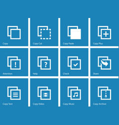 Copy Paste icons for Apps Web Pages vector image vector image