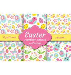 cute easter seamless pattern set with nestling vector image