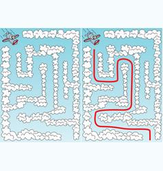 easy airplane maze vector image vector image