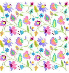 fantasy flowers embroidery seamless pattern vector image