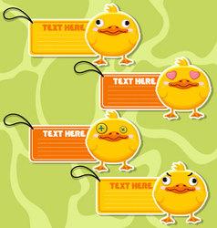 Four cute cartoon Ducks stickers vector image vector image