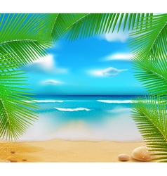 Golden beach sunset vector