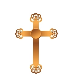 Golden cross isolated icon vector