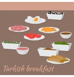 Good morning with turkish breakfast traditional vector