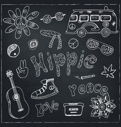 hand drawn doodle cartoon set of hippie vector image