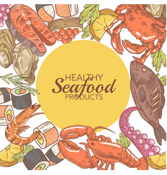 Hand drawn seafood design with fish crab vector