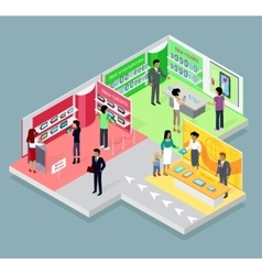 Isometric 3d mobile store design vector