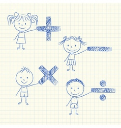 Kids with mathematical signs vector