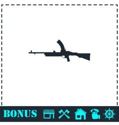 Machine gun icon flat vector