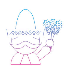 Man with sombrero holding flowers mexico culture vector