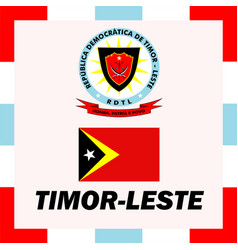 Official ensigns flag and coat of arm of timor vector