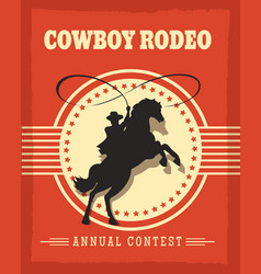 Old west cowboys rodeo retro poster vector