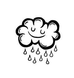 Painted cartoon rain cloud vector