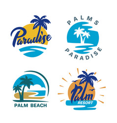 palm trees round emblems vector image