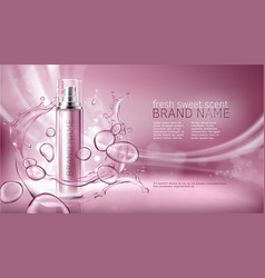 Pink background with moisturizing cosmetic premium vector