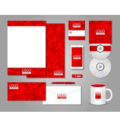 Red corporate identity template design vector image vector image