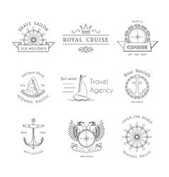 retro nautical logo templates vector image vector image
