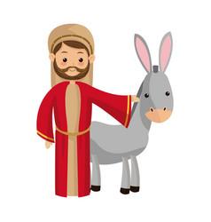 saint joseph with donkey manger cartoon vector image
