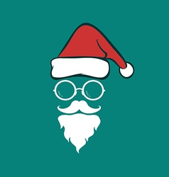 Santa hats and beards and eyeglasses vector image