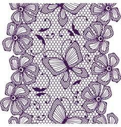 Seamless lace pattern with butterflies and flowers vector image vector image