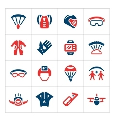 Set color icons of parachute vector