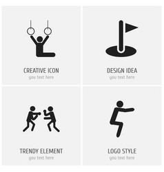 set of 4 editable fitness icons includes symbols vector image